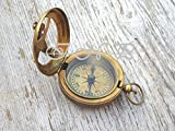Humaira Nautical ANTIQUE BRASS SUNDIAL COMPASS VINTAGE PUSH BUTTON NAUTICAL COMPASS MARINE GIFT A