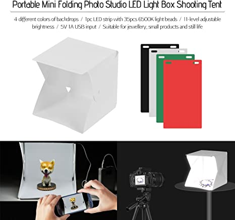 TOPTOO Estudio de fotografía portátil Caja de luz LED Tienda de Mini Estudio Plegable de fotografía