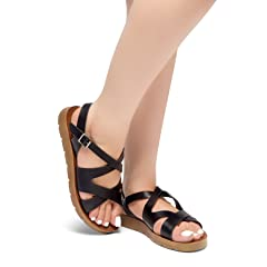 d13fa01af55 Herstyle Journey Ahead Women s Gladiator Ankle Strap Flexible Summer Greek Platform  Wedge Flat Casual Sandals - Casual Women s Shoes