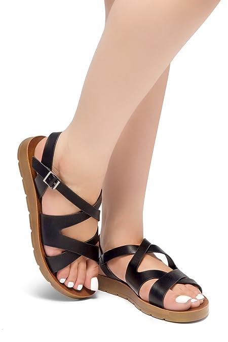 9de81d3151aa45 Herstyle Journey Ahead Women s Gladiator Ankle Strap Flexible Summer Greek  Platform Wedge Flat Casual Sandals Black