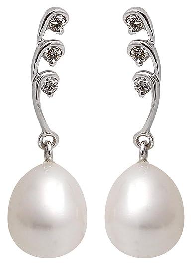 Kimura Cultured White Freshwater Pearl and Diamond Stud Earrings, 9 ct