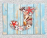XHFITCLtd Letter J Tapestry, Summer Holiday on Tropical Beach Theme J Rustic Old Wood Planks, Wall Hanging for Bedroom Living Room Dorm, 80 W X 60 L Inches, Pale Blue Ivory Dark Coral