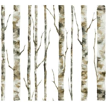 York Wallcoverings Lw5835 Birch Trees Wallpaper Browns