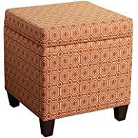 Ottoman Orange Fashion in Geometric Pattern Storage Cube Ottoman (K7380-F1447) - 17 in SQ x 18 in High