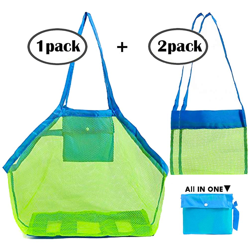 Sgift Mesh Beach Bag for Toys,1pack Large Mesh Beach Tote Holding Children's Toys+2pack Shell Bags for Kids,Beach Toy Bag Away from Sand,Bag Toys Organizer, Swimming Equipment Storage