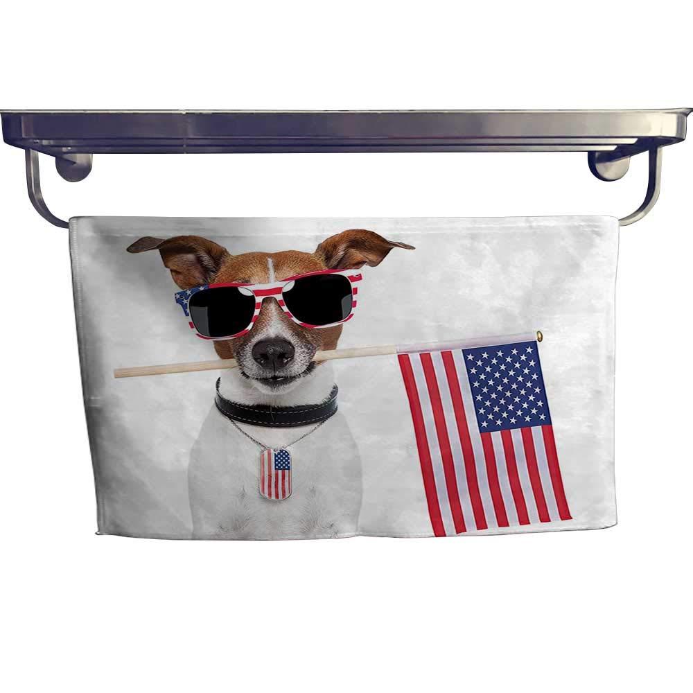 "Cotton Beach Towel, American Dog USA Flag Shad Sunglass Liberty Anniversary Dependence ,Absorbent, Machine Washable, Towel W 27.5"" x L 14"""