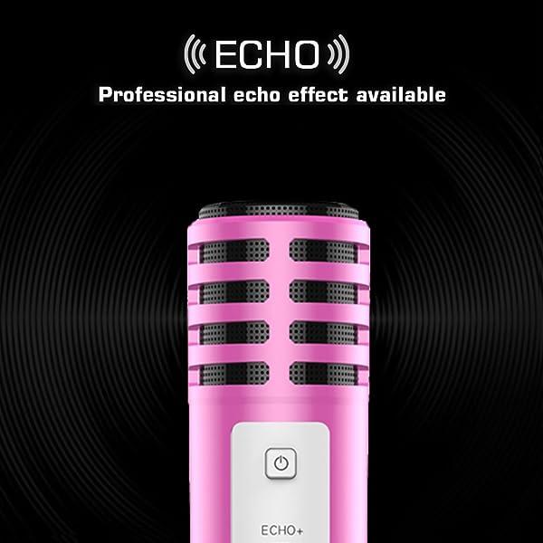 MICRÓFONO DE CONDENSADOR PORTÁTIL MINI PARA EL TELÉFONO DE IPHONE con soporte Tarjeta de sonido incorporada Grabación de eco Karaoke canto para Android IOS de XIAOKOA