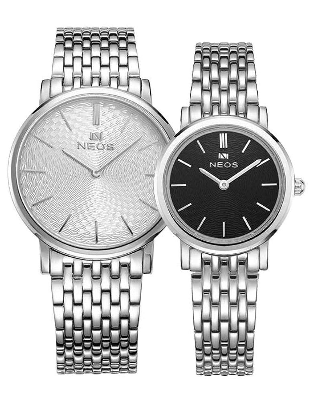 Paar Uhren Ultra Slim Morie Zifferblatt Edelstahl Band Quarz Wasserdicht Armbanduhr fÜr Ihre HIS weiß schwarz