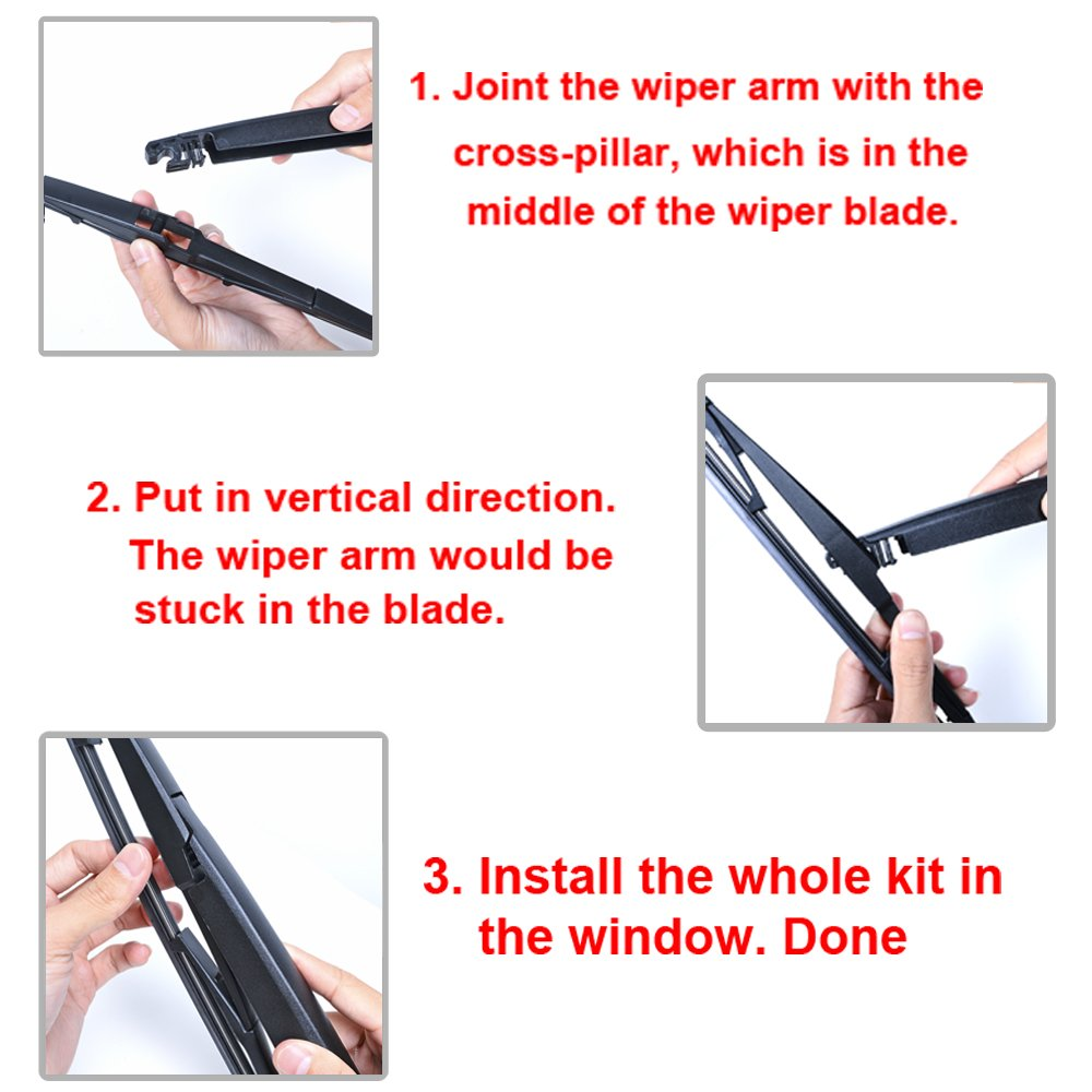 Blade Kit Compatible with LEXUS RX300 RX330 RX350 RX400h Car Windshield Window Rear Wiper Arm