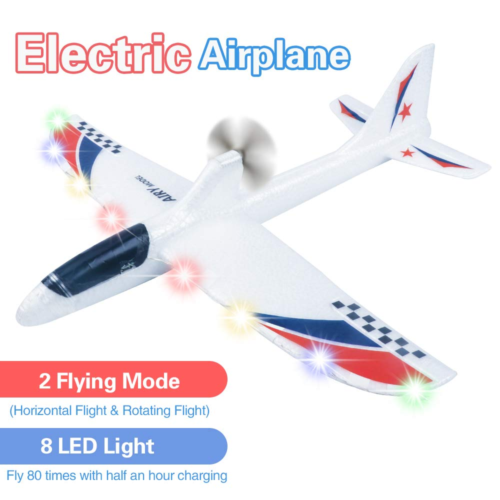 Electric Airplane Toys, Rechargeable 2 Flight Mode Throwing Plane, Outdoor Sport Toy, Foam Education Glider Aeroplane for boys Adults, Family Flying Game Toy,Styrofoam Airplanes,Gift for Kids Teenager by BooTaa
