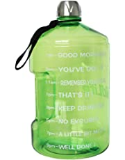 QuiFit Sports Water Bottle with Motivational Time Marker BPA Free Leak Proof and Durable 3.78/2.2/1.3 Liter Large Capacity to Ensure You Drink Enough Water Throughout The Day