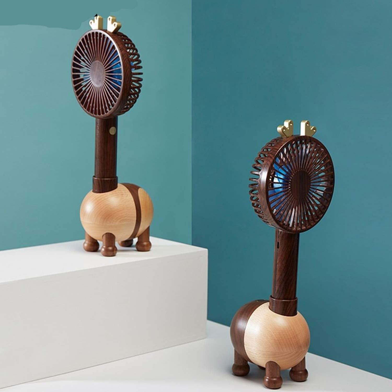 Air Cooling Fan Fawn Shaking Head Fan Handheld Desktop Mini Fan Charging USB Wooden Small Fan Stylish Shape Color : 01
