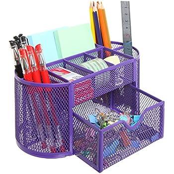 Amazon.com : Mesh Desk Organizer Office Supply Caddy Drawer with ...