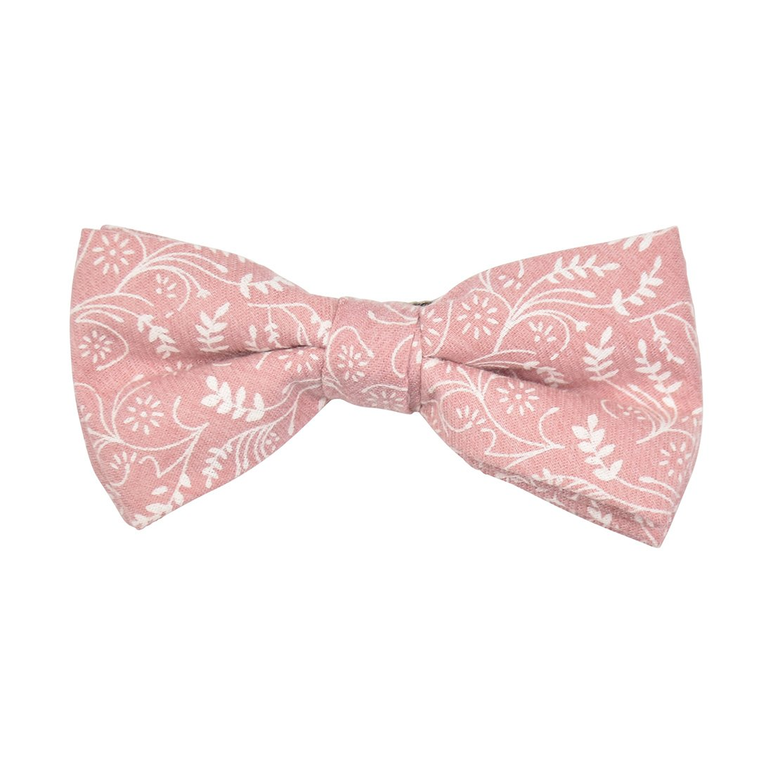 Floral Cotton Bow Tie with Metal Clip-Pink
