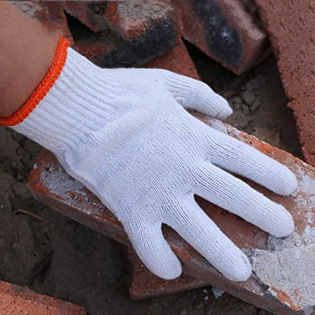WangYi Guantes Protectores- Guantes de Trabajo de Hilo de algodón, Guantes de protección Resistentes al Desgaste. (Color : Blanco, Tamaño : 21.4X10CM): Amazon.es: Hogar