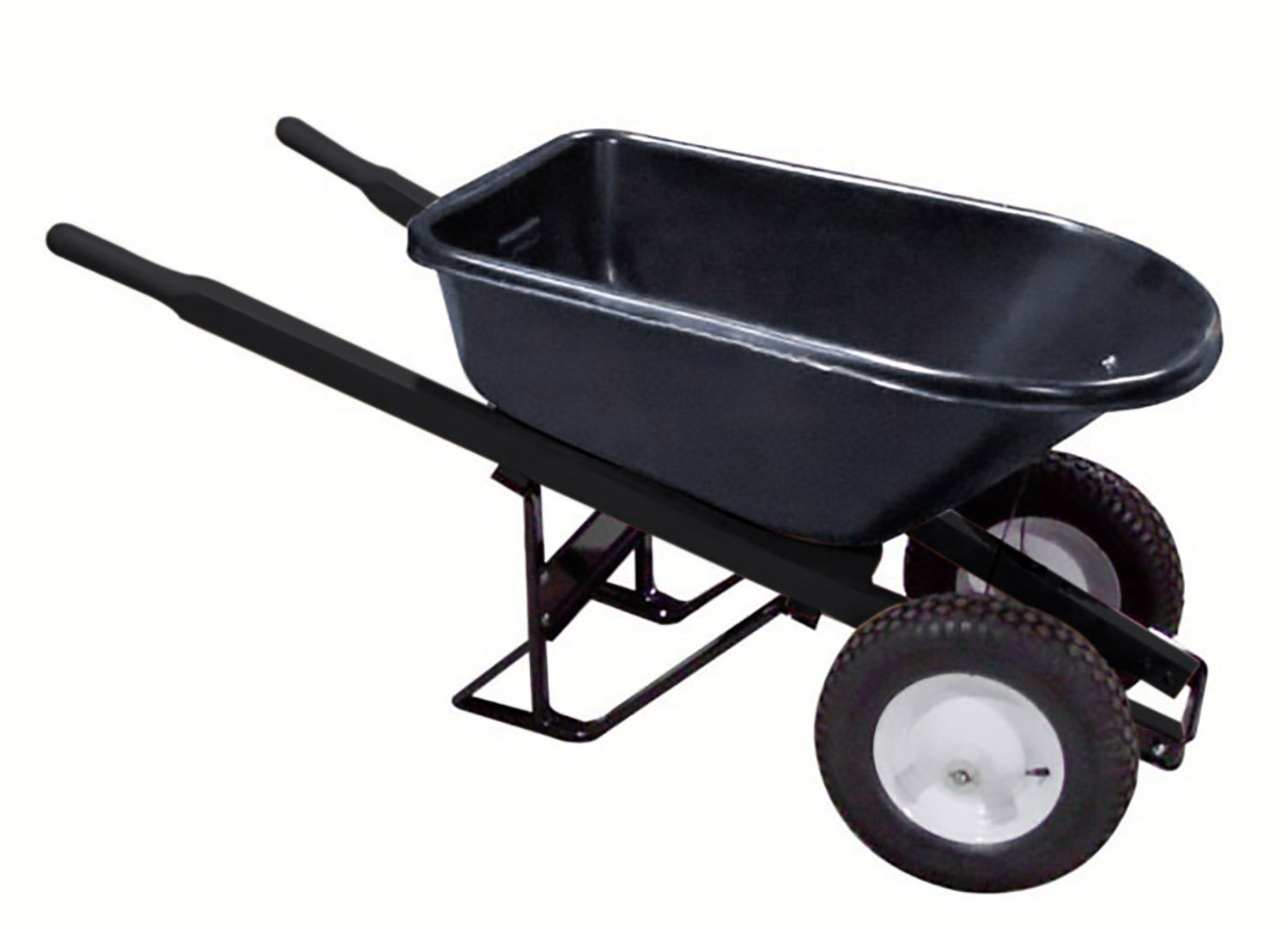Bon 28 909 Premium Contractor Grade Poly-Tray Double Wheel Wheelbarrow with Steel Handle and Ribbed Tire, 5-3/4 Cubic Feet