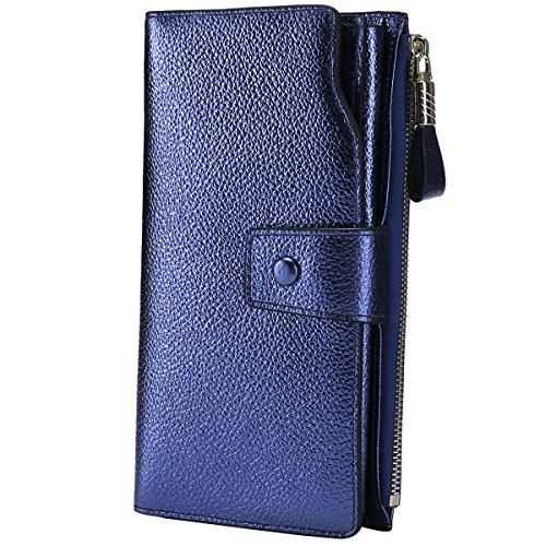 Organizer Wallet (Itslife Women's RFID Blocking Large Capacity Luxury Wax Genuine Leather Clutch Wallet Card Holder Organizer Ladies Purse (3-Lichee Blue Gold))
