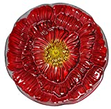 Continental Art Center Bold Orange Flower Glass Plate, 18-Inch