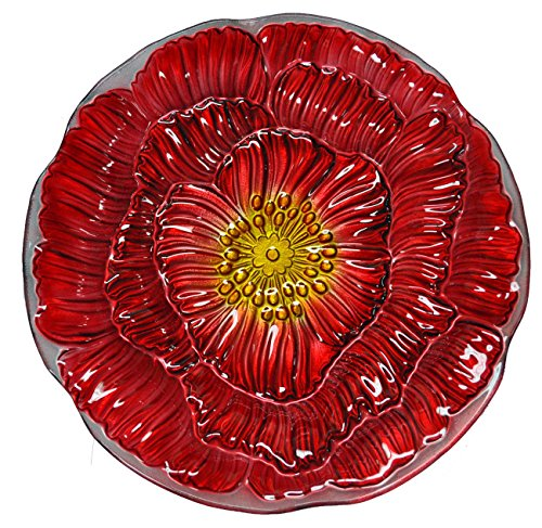 Continental Art Center Bold Orange Flower Glass Plate, 18-Inch by Continental Art