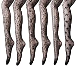 Women's Fishnet Stockings Tights - 6 Pairs Sexy Fishnets Pantyhose for Party,Height: 5'0'' - 5'8'' / Weight: 100-180lbs,Black, Anomaly Net, 6 Pairs