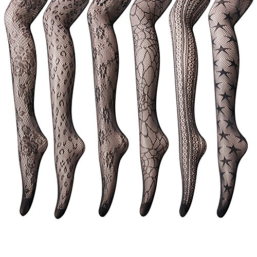 Women's Fishnet Stockings Tights - 6 Pairs Sexy Fishnets Pantyhose for Party,Height: 5'0'' - 5'8'' / Weight: 100-180lbs,Black, Anomaly Net, 6 Pairs by HLTPRO