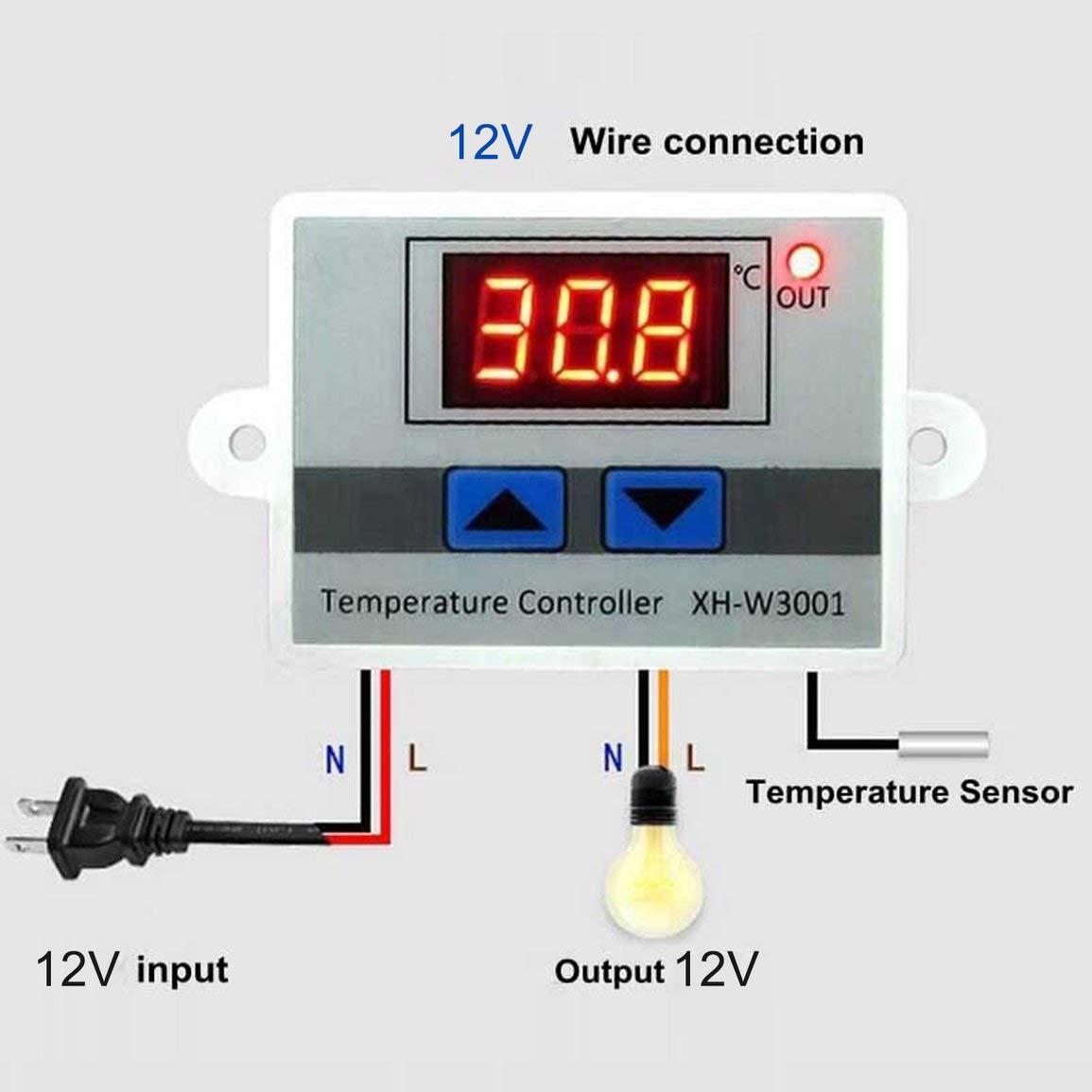 Color: blanco Controlador de temperatura LED digital Interruptor de control del termostato Sonda impermeable Cable de conexi/ón Sensor de temperatura de alta sensibilidad