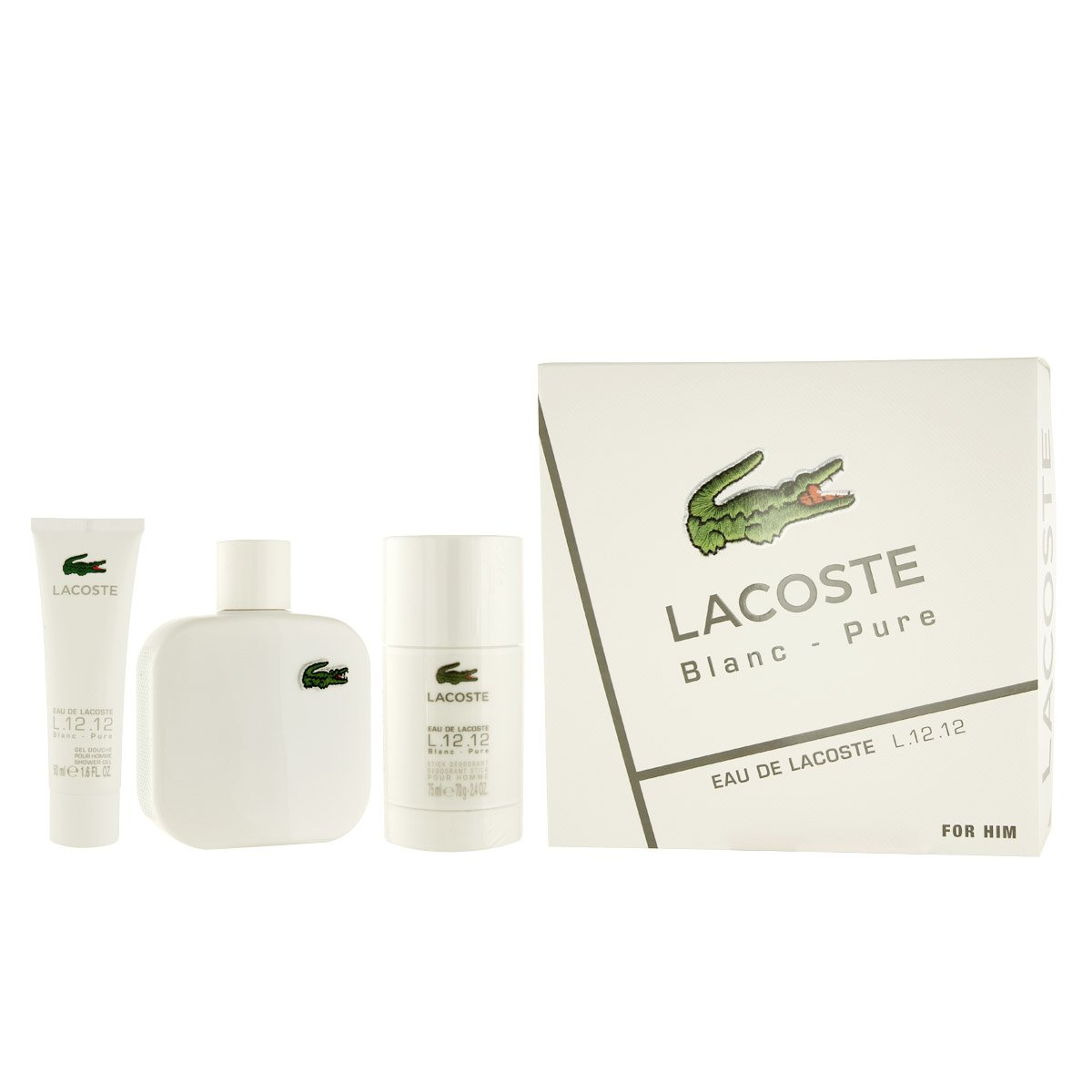 Blanc - Lacoste l 12 12 100ml espray colonia+ 50ml gel de ducha + 75ml