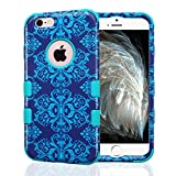 iPhone 6 Case, iPhone 6S Case, JoJoGoldStar Dual Layer Hybrid, Slim Fit Plastic and Silicone TPU Cover with Stylus and Screen Protector - Blue Damask