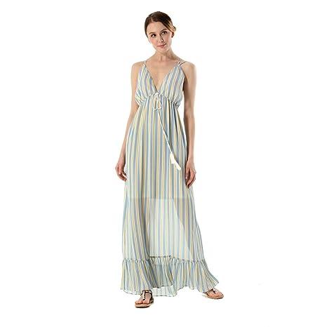 size 40 459c5 a1021 YAN Vestito da Donna Abiti Lunghi da Donna Sexy Sling Stripe ...