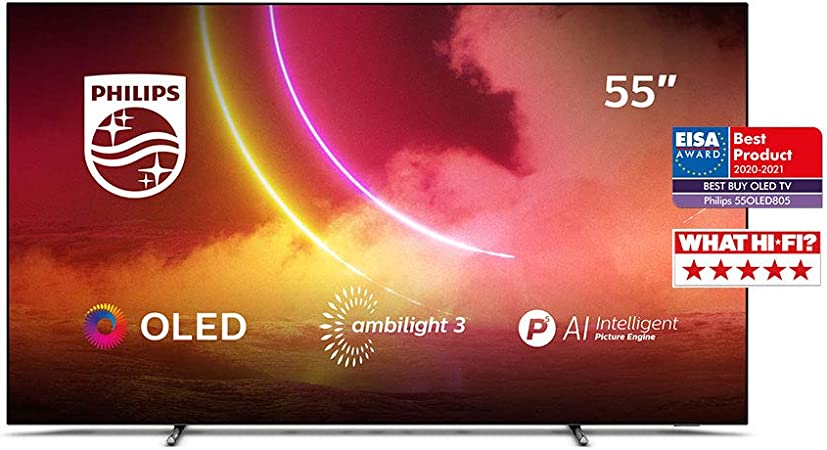 Philips Ambilight 55OLED805/12 55-Inch OLED TV (4K UHD, P5 AI Perfect Picture Engine, Dolby Vision, Dolby Atmos, HDR 10+, Freeview Play, Works with Alexa, Android TV) Gun Metal Grey (2020/2021 Model): Amazon.co.uk: