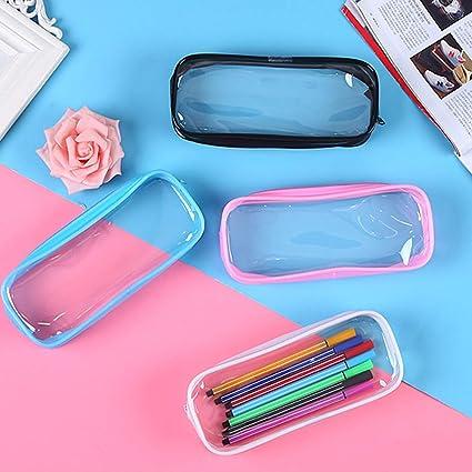 Bolsa de lápices transparente SUNSHINETEK 4 piezas Bolígrafo de examen transparente Estuche de lápices Bolsa de maquillaje con cremallera de PVC de gran capacidad para Almacenamiento de cosméticos: Amazon.es: Oficina y papelería
