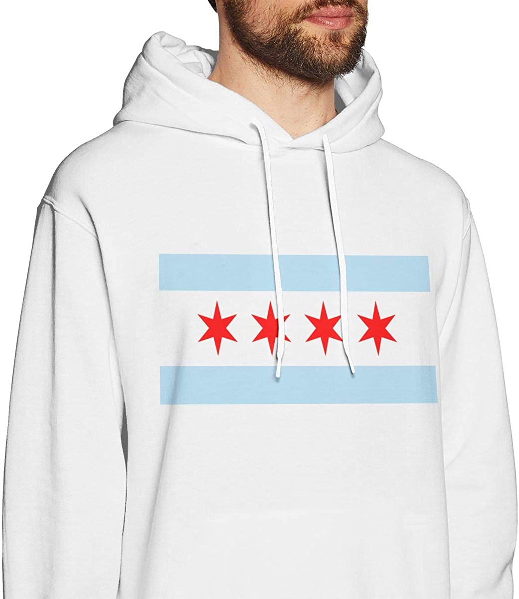 Mens Hoodies Chicago Flag Fashion Pullover Hooded Print Sweatshirt Jackets