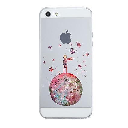 Caler iPhone SE/5S/5 Hülle Weiche Flexible Silikon-Handy-Hülle Transparente Ultra Slim TPU dünne stoßfeste mit Motiv Rundum-S