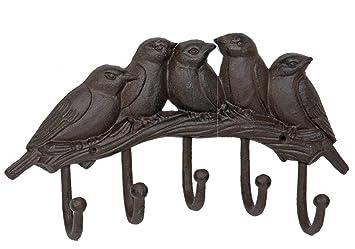 Clayre & Eef 6y1880 Perchero de Pared pájaros con 5 Ganchos ...