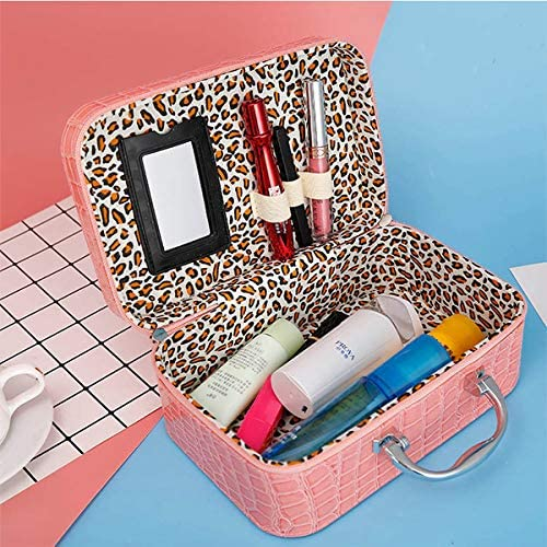 女性の石のパターンの化粧品のケース化粧品の袋とミラーポータブル化粧品保管袋 YZUEYT