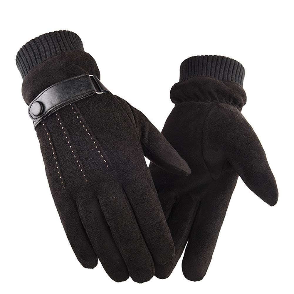 AINIYF Full Finger Gloves | Suede Men's Winter Warm Outdoor Gloves Cycling Motorcycle Outdoor Sports Plus Velvet Wind Screen (Color : Black)