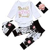 Newborn Kids Baby Girl Romper + Flowers Pants + Hat + Headband Outfit Set