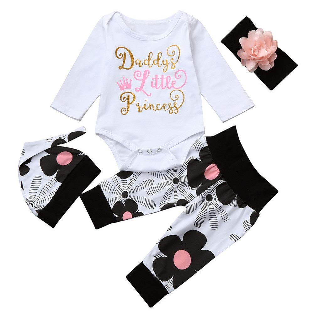 Newborn Kids Baby Girl Romper + Flowers Pants + Hat + Headband Outfit Set