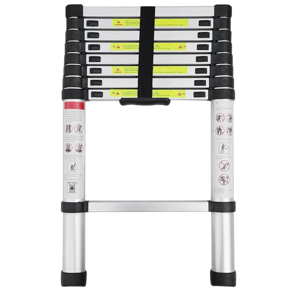 Hehilark 3.2m Telescopic Ladder Portable Aluminum Foldable Ladder Single Straight Multi-Purpose for Home Loft Office