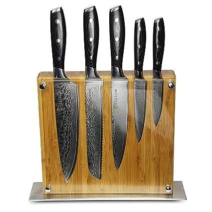STALLION Cuchillo de Damasco Juego de Cuchillos con Bloque para Cuchillos - el Regalo Ideal para Hombres y Amantes de un Buen Cuchillo