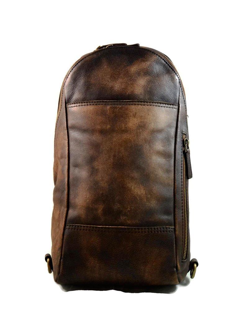 Mens waist leather shoulder bag hobo bag travel back sling satchel dark brown backpack leather backpack leather sling washed leather