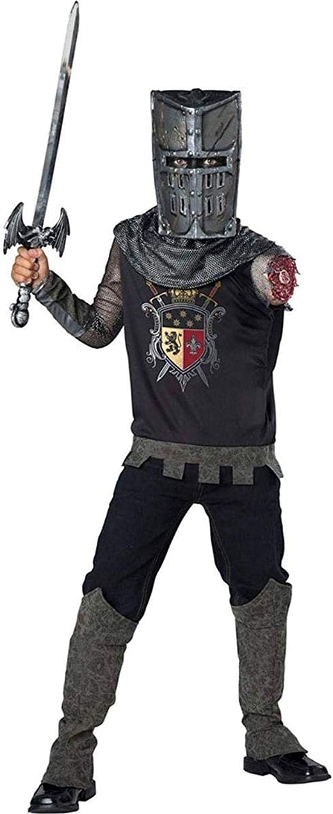 Amazon.com: Disfraz medieval de zombi de caballero negro ...