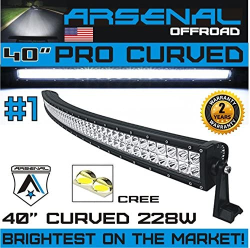 40in Waterproof 6000K Can-Am Military Commander Light Bar LED Radius Curved
