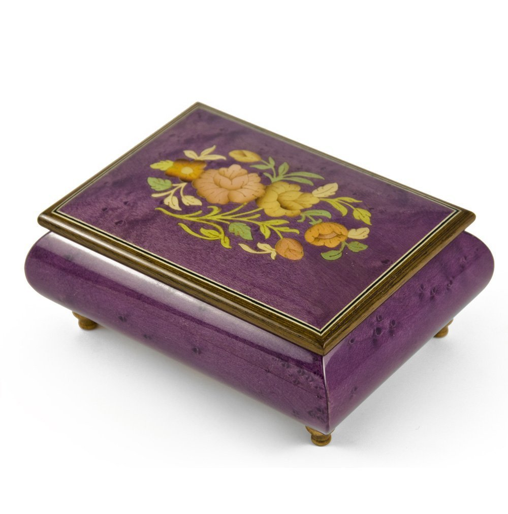 Old World 30 Note Italian Violet Floral Music Jewelry Box - Scarborough Fair