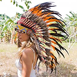 Novum Crafts Feather Headdress | Native American Indian Inspired | Orange