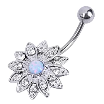 Jocestyle Belly Button Rings Woman Elegant Natural Body Piercing Jewelry  Opal Crystal Flower Button Navel Nail d60b5237849c