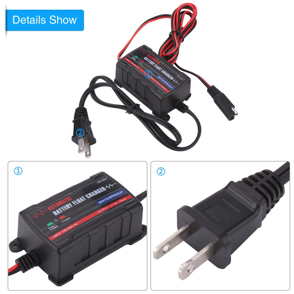 Qiilu 0.75A 6V 12V Automatic Battery Trickle Charger Maintainer for Car Motor ATV RV (American Plug) by Qiilu (Image #3)
