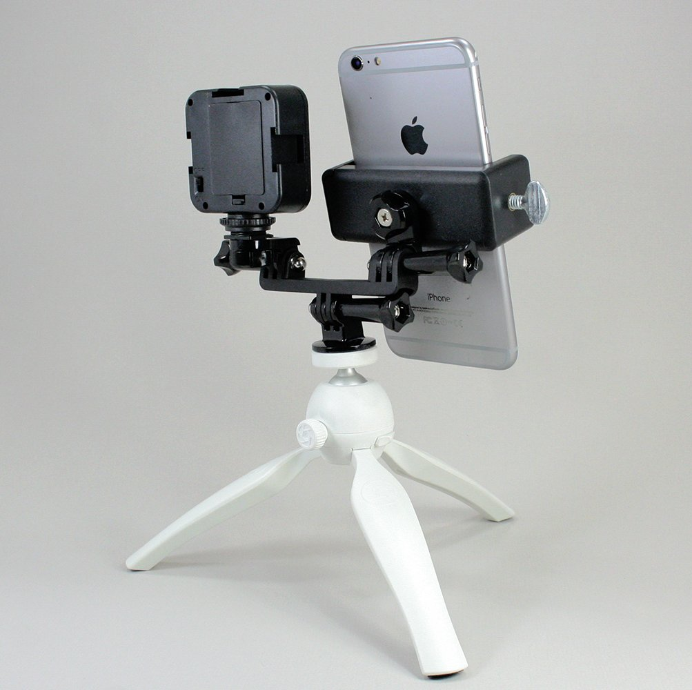 to Fit Regular Sized Devices Livestream Gear or YouTube Cellfy Inc Smartphone /& LED Light Tripod Setup for Live Stream 720 Also Works with Sport Cameras. Facebook Live Lg. Device /& LED Tripod