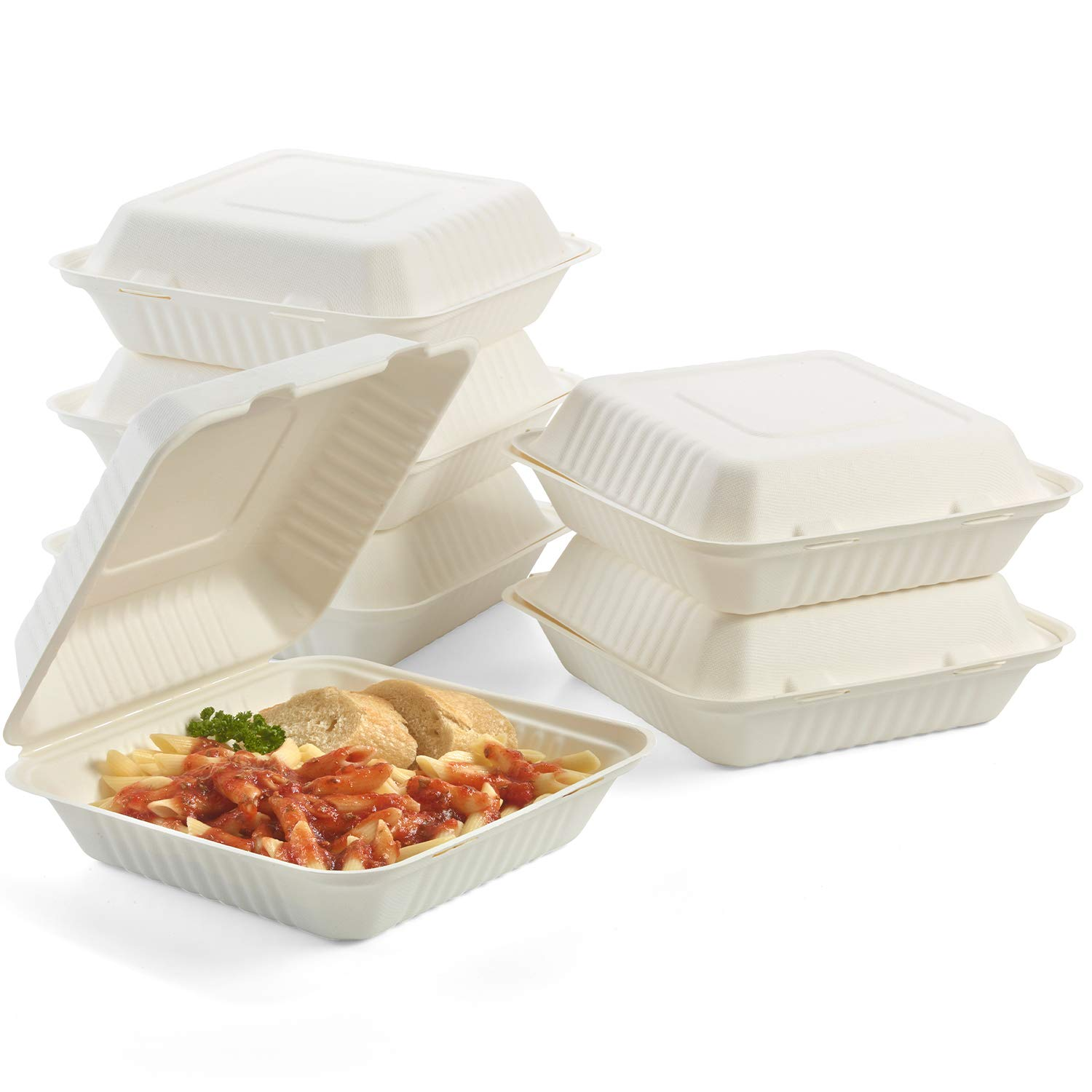 100% Compostable Clamshell To Go Boxes For Food [8X8