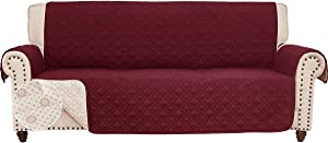 RHF Anti-Slip Sofa Cover for Leather Sofa, Couch Cover, Couch Covers for 3 Cushion Couch, Slip-Resistant Couch Cover for Leather Sofa, Sofa Covers for Living Room, Couch Covers(Sofa:Merlot)